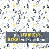 Серый цвет и желтый цвет ООН безшовной флористической картины 1 Vetor голубой Иллюстрация штока