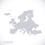 Серый цвет карты Европы Вектор политический с государственными границами Стоковое фото RF