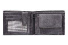 Серый цвет открытый, кожаный бумажник Стоковые Фотографии RF