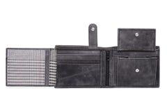 Серый цвет открытый, кожаный бумажник Стоковое Фото