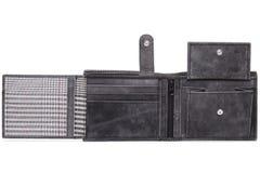 Серый цвет открытый, кожаный бумажник Стоковые Фото