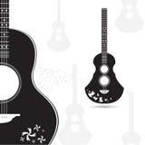 Серый цвет черноты гитары вектора на белой предпосылке Стоковая Фотография RF