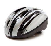 Серый шлем велосипеда на белой предпосылке Стоковые Изображения RF