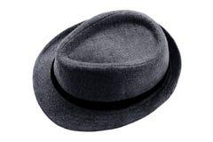 Серый fedora шляпы при черная лента изолированная на белой предпосылке стоковые изображения