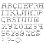 Серым шрифт сшитый крестом Handmade характеры Стоковые Изображения RF