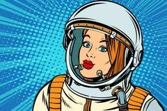 Серьезный астронавт женщины Стоковая Фотография
