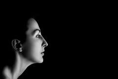 Серьезный женский профиль Стоковое Изображение RF