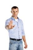 Серьезный жест стопа выставок человека Стоковая Фотография