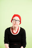Backgroun зеленого цвета определения смешных людей портрета женщины реальных высокое Стоковая Фотография RF