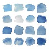 Сер-голубой комплект акварели помарками Стоковые Изображения