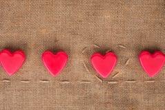 5 сердец на дерюге Стоковые Изображения RF