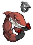 Сердитая акула бокса шаржа Стоковая Фотография