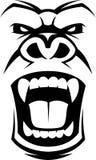 Сердитая голова гориллы Стоковые Изображения