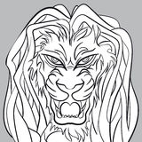 Сердитая голова льва - editable векторная графика Стоковое Изображение RF