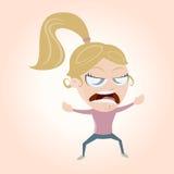 Сердитая девушка шаржа Стоковые Изображения