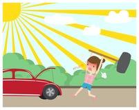 Сердитая женщина ломая красный молоток автомобиля бесплатная иллюстрация