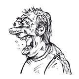 Сердитая карикатура человека Иллюстрация вектора