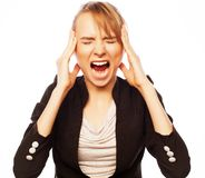 Сердитая кричащая коммерсантка Стоковая Фотография RF