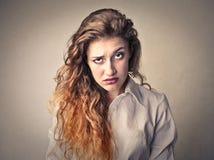 Сердитая пробуренная женщина Стоковая Фотография