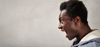Сердитая сторона чернокожего человека Стоковое Изображение