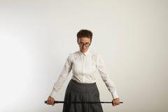 Сердитая учительница с указателем стоковая фотография rf