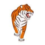 1 сердитая черная белизна версии тигра halftone цвета 2 Стоковая Фотография RF