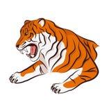 1 сердитая черная белизна версии тигра halftone цвета 2 Стоковые Фотографии RF