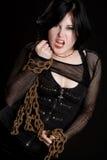 сердитая девушка цепей Стоковая Фотография RF