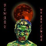 Сердитые зомби с темной предпосылкой и красным полнолунием Стоковое Изображение