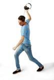 Сердитые мужские бросая наушники Стоковая Фотография RF