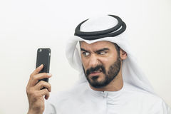 Сердитый аравийский бизнесмен, аравийский бизнесмен выражая гнев Стоковые Изображения