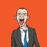 сердитый бизнесмен вне говорит с насмешкой Стоковое фото RF