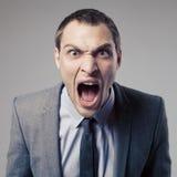 Сердитый бизнесмен кричащий Стоковая Фотография RF