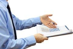 Сердитый бизнесмен над плохим отчетом Стоковое фото RF