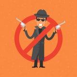 Сердитый гангстер держа оружие Стоковые Фото