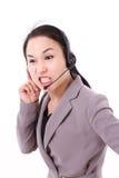 Сердитый женский штат работы с клиентом стоковая фотография rf