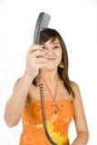 сердитый звонящий по телефону Стоковая Фотография