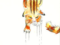 Сердитый красный кот tabby царапая поверхностную акварель Стоковое Изображение