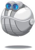 Сердитый круглый вектор летая робота Стоковые Изображения