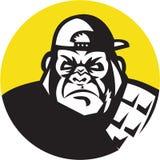 Сердитый круг бейсбольной кепки головы гориллы ретро иллюстрация вектора
