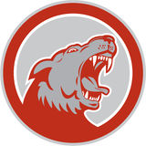 Сердитый круг вершин головки зубчатого колеса дикой собаки волка ретро Стоковая Фотография RF
