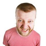 Сердитый надоеданный человек в розовой рубашке стоковые фотографии rf