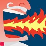Сердитый огонь плевания бизнесмена Стоковая Фотография