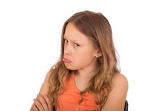 Сердитый ребенок делает гримасу Стоковые Изображения RF