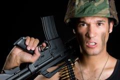 сердитый человек армии Стоковая Фотография