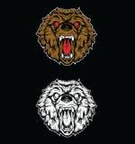 Сердитый чертеж головы медведя Стоковые Изображения