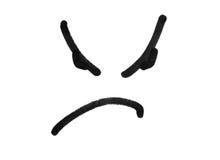 Сердитый чертеж улыбки стороны при черная ручка отметки изолированная на белизне Стоковая Фотография
