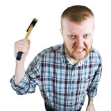 Сердитый человек отбрасывает большой молоток стоковая фотография rf