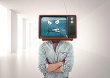 Сердитый человек при его сложенные руки иллюстрация головки шаржа 3d представила tv Стоковые Фото