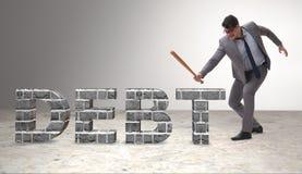 Сердитый человек с долговым бременем бейсбольной биты Стоковое Изображение